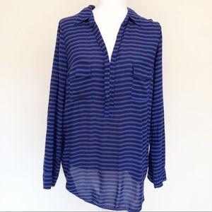 Splendid Blue Striped RollTab Sleeve Blouse | 3001